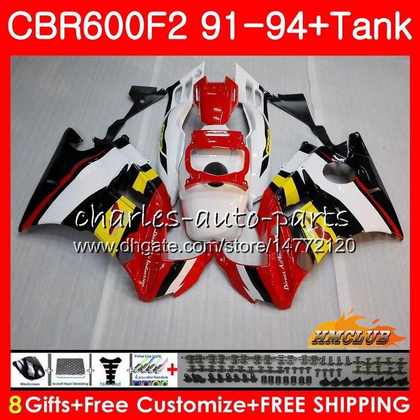 Kropp + Tank för Honda CBR 600F2 CBR600FS CBR 600 FS F2 91 92 93 94 40HC.21 600cc CBR600 F2 CBR600F2 1991 1992 1993 1994 Fairing White Red Top