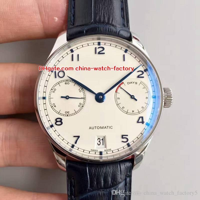 7 Estilo Melhor Qualidade Relógio Top Fábrica 42.3mm Português 7 Dias de Reserva de Energia IW500705 Swiss CAL.51111 Movimento Automático Mens Relógios