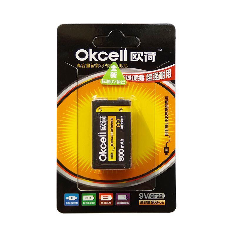 Okcell 9 V 800 mAh usb 9 V şarj edilebilir lipo pil rc helikopter model mikrofon için rc helikopter parçası için