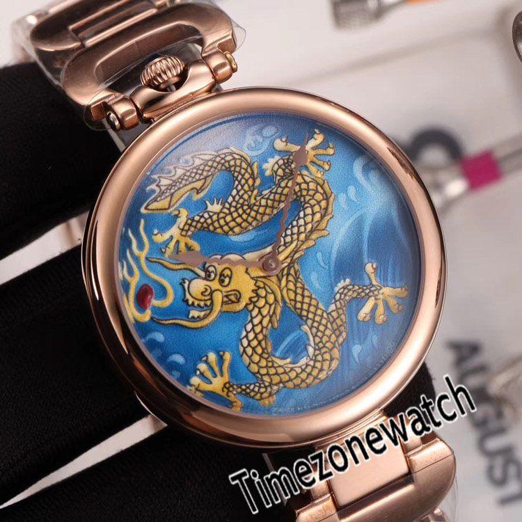 Nueva Bovet Fleurier Amadeo 46mm suizo de cuarzo Reloj de oro rosa del tatuaje del dragón pintado Dial pulsera de acero inoxidable Timezonewatch E06b2