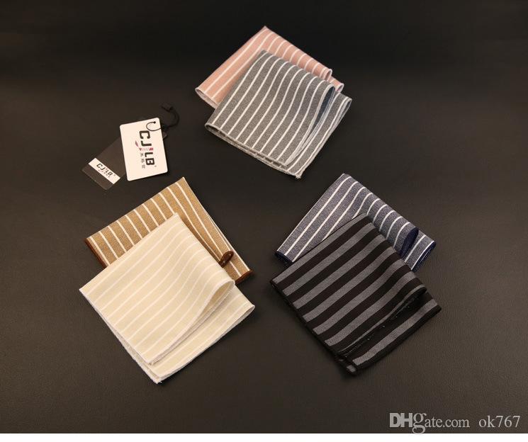 19 Color Handkerchief Fashion for Striped Quality Mens High Algodão Novo 22x22cm Quadrado Designer Bolso Casamento Odauv