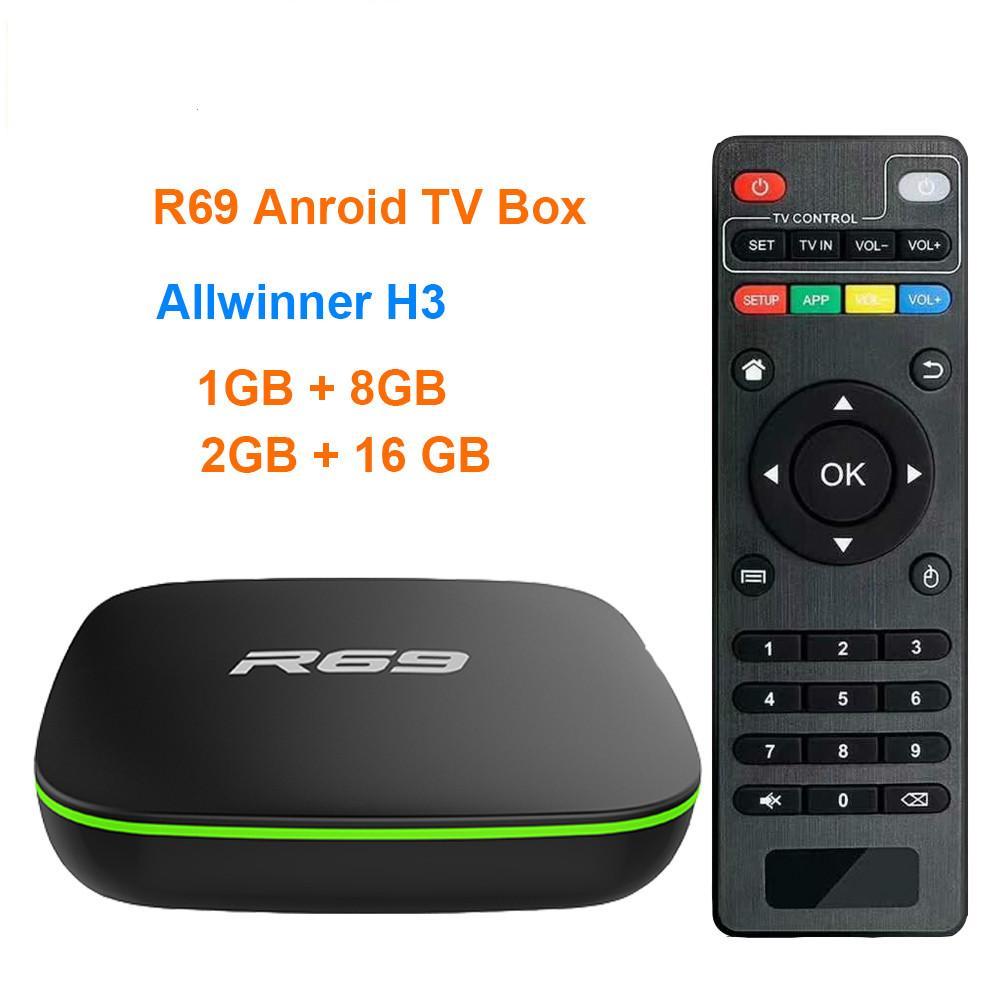 R69 الذكية الروبوت 10 TV Box 2G 16G Allwinner H3 رباعية النواة 2.4 جرام واي فاي تعيين مشغل الوسائط Topbox