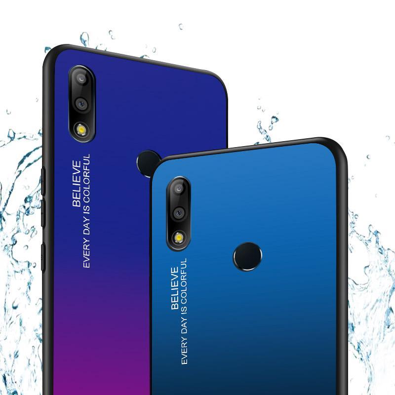 Gradiente de vidro temperado phone case para asus zenfone max pro zb631kl zb631kl zb631kl m1 zb601kl zb602k capa Bling Fundas Coque