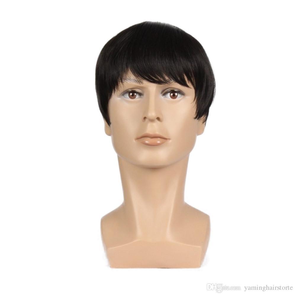 남성 천연 블랙 남성 가발 내열 섬유 머리 가발 가발 8 개 인치 짧은 직선 합성 가발