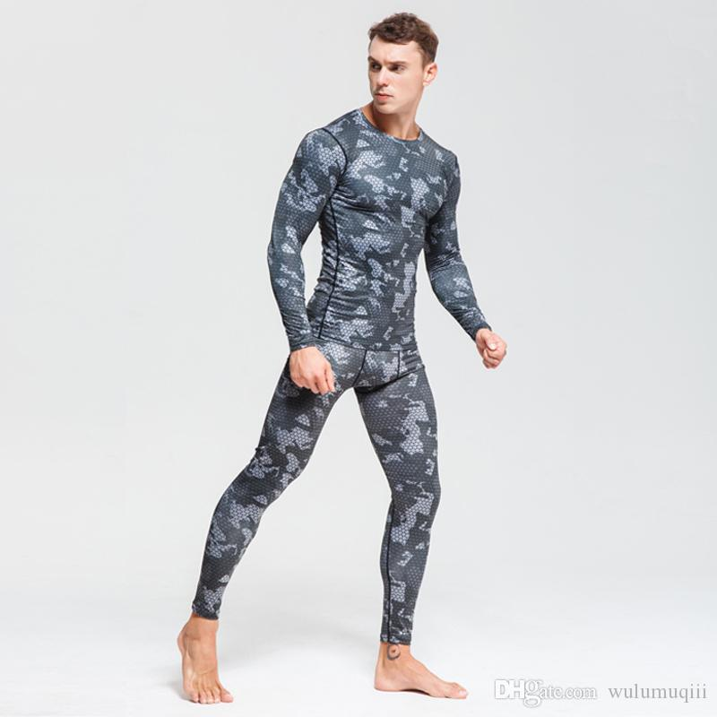 Winter Suit For Men 2 Piece Men Thermal Underwear Camouflage Tracksuit Men Clothing kit Bodybuilding T-Shirt