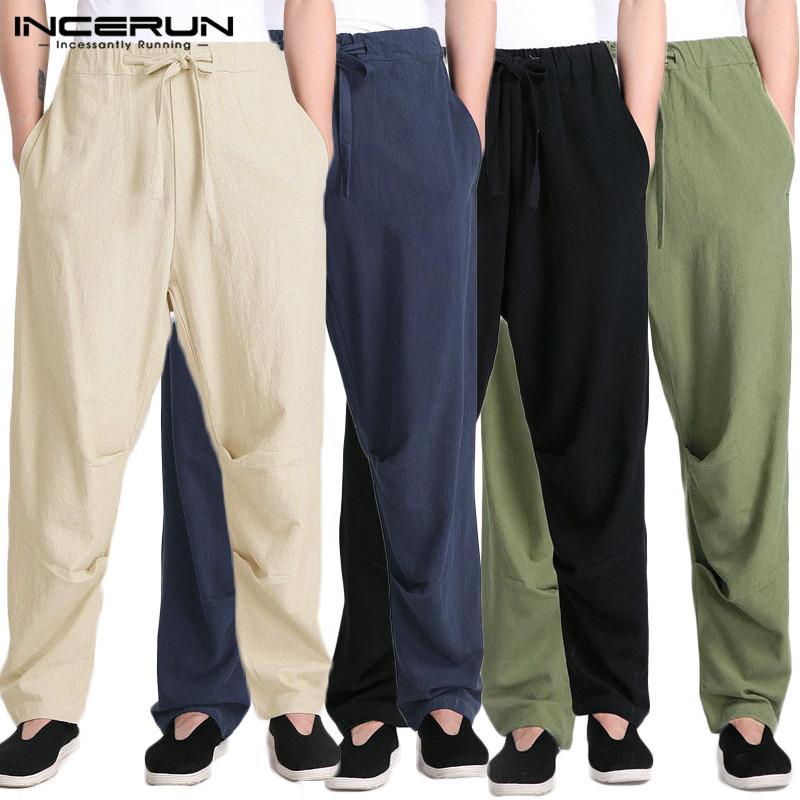 INCERUN 2020 Hommes Rétro Pantalon en coton Streetwear Joggers hommes couleur unie cordonnet Pantalon droit Casual Pantalon Long Plus Size