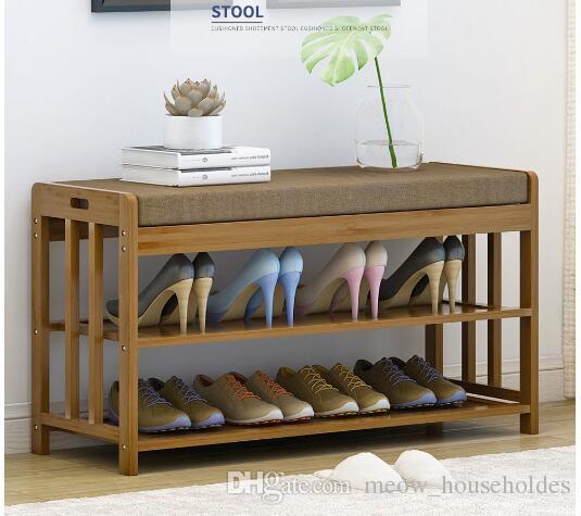 Meuble à chaussures Changez le repose-pieds à la porte Meuble de réception moderne et simple Banc en bois massif Tail Bench Repose-pieds multifonctionnel