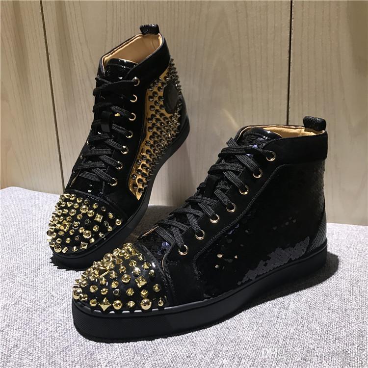 الأصلي رواج أنيق الخرز الذهب ترصيع عالية أعلى أحمر أسفل حذاء رياضة عارضة أحذية للرجال النساء التزلج مصمم حفل زفاف