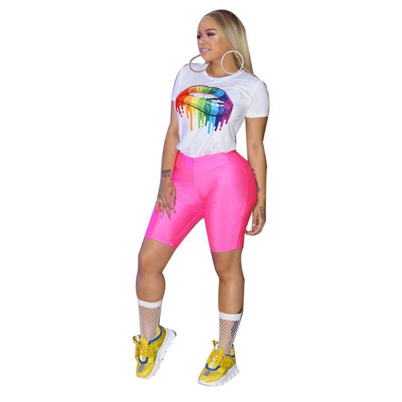 2020 estate Donne Stampa White Top e Short Pant Imposta Moda elastico in vita 2 Due Pezzi serie di abiti