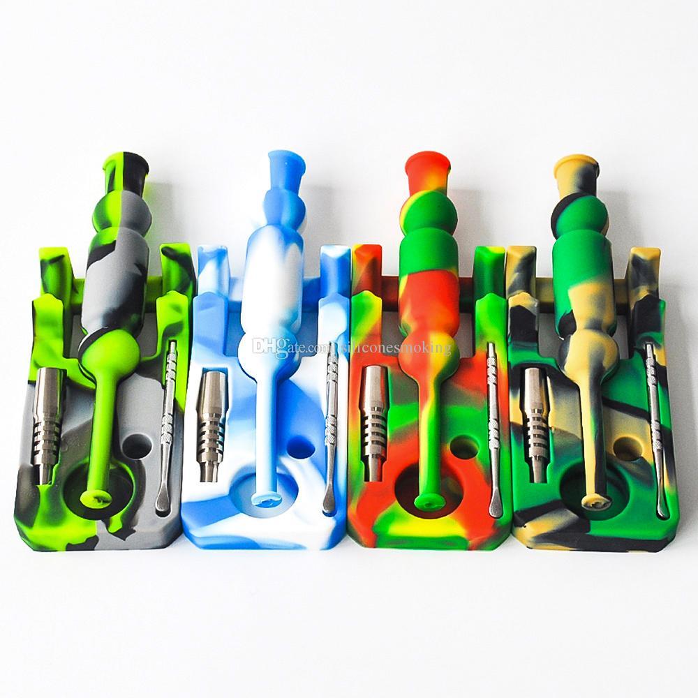 kit di vendita calda del silicone Nectar collezionista con olio di 14 millimetri joint Ti Nail nettare collettore rig bong di vetro di trasporto del DHL