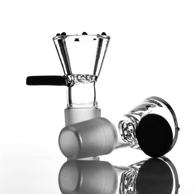2020 vasija nueva manija Negro y un tazón de vidrio de nido de abeja pequeña de agua tubos de 18 mm de 14 mm recipiente de vidrio unión macho para pipas de agua pelele