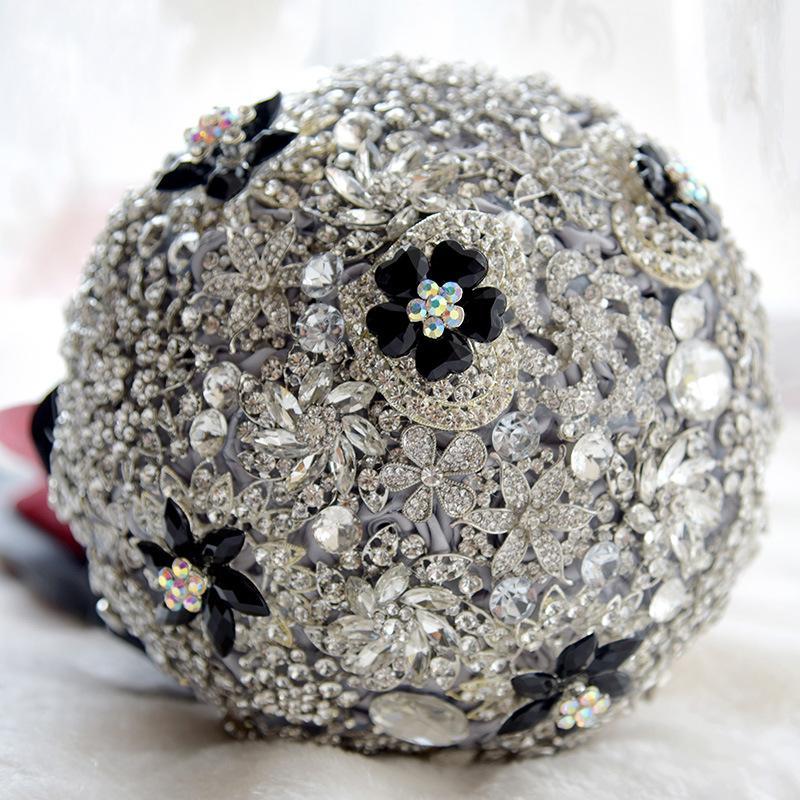 """2018 8"""" Silver Ivory Brooch Bouquet Bridal Brides Crystal Bling Boquet Luxury Unique Boutique Bouquet"""