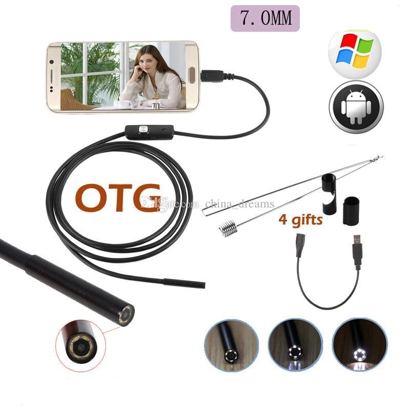 USB كاميرا المنظار IP67 للماء 6LED 720P 7MM التنظير الأنابيب التفتيش الأنابيب لكاميرا الهاتف الروبوت الهاتف