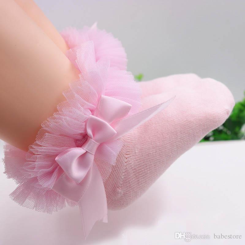 Bow dentelle chaussettes de bébé nouveau-né coton filles chaussette avec bowknot mignon tout-petits chaussettes princesse