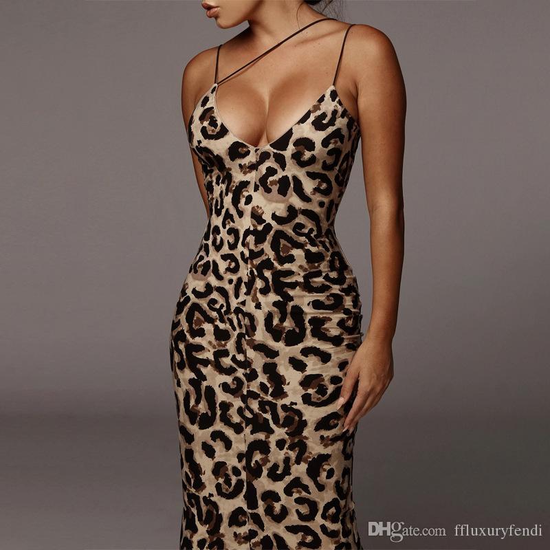 Sommer-Damen Leopard, figurbetontes Kleid Serpentine-Spaghetti-Bügel-dünne Frauen-Partei-Kleider Sexy Panelled Mode Weibliche Mäntel Kleider
