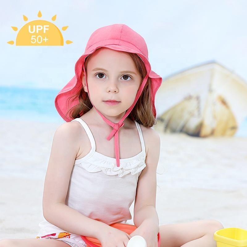 Bebê chapéus de sol crianças UPF 50+ praia de natação chapéus Proteção Sun para Head Neck criança aba viseira chapéu uv tampa para o verão