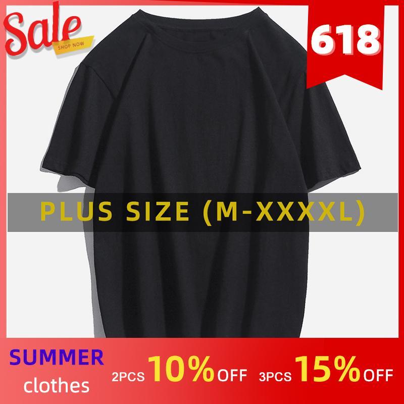 패션 미국 / 유로 플러스 사이즈 남성 T 셔츠 대형 T - 셔츠 단색 짧은 소매 T - 셔츠 남성 블랙 화이트 티 셔츠 여름 티셔츠