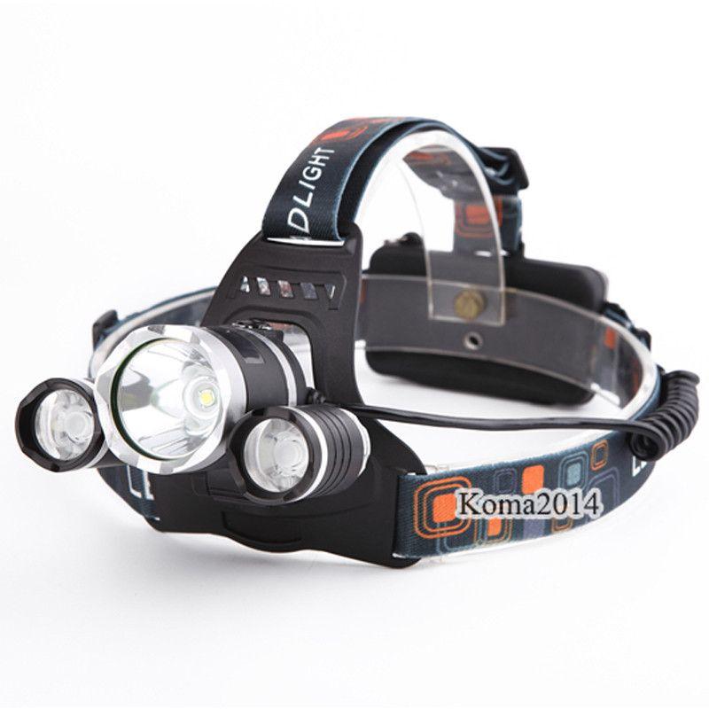 3 × كري xm-l t6 led كشافات xml t6 4 طرق قابلة للشحن المصباح رئيس مصباح الأضواء للصيد شحن مجاني
