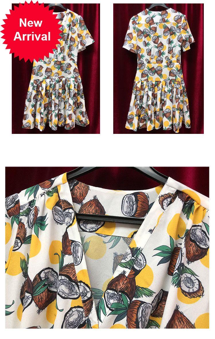 2020 New Custom-made Summer Coconut Print Sexy Women's Dress Cleavage Thin V Short Dresses Women's Short Pliers