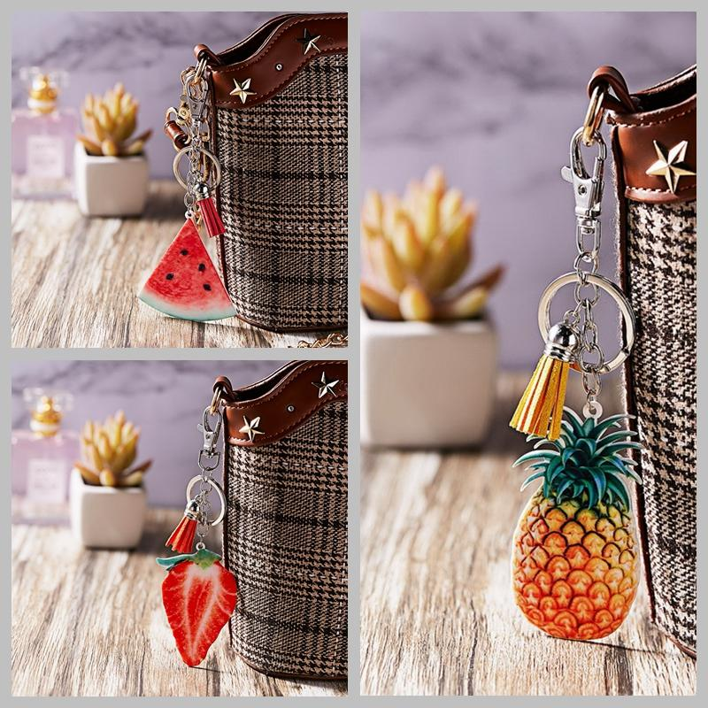 Charm Tassel Fruit Watermelon Strawberry Keychain Pineapple Orange Keyring Gift