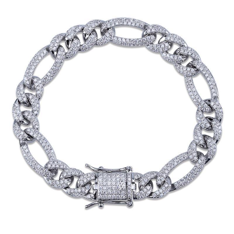 Мужские браслет 10мм 7/8 дюймов Золото Серебро Цвет Top CZ Figaro браслет цепи ссылки хороший подарок для мужчин