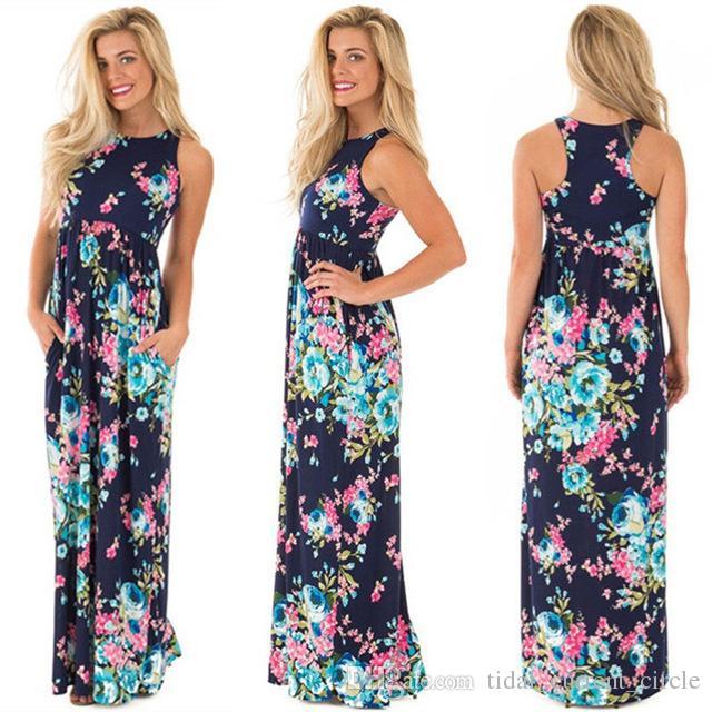 Verão longo dress floral impressão boho praia túnica maxi dress mulheres evening party dress vestido de verão moda