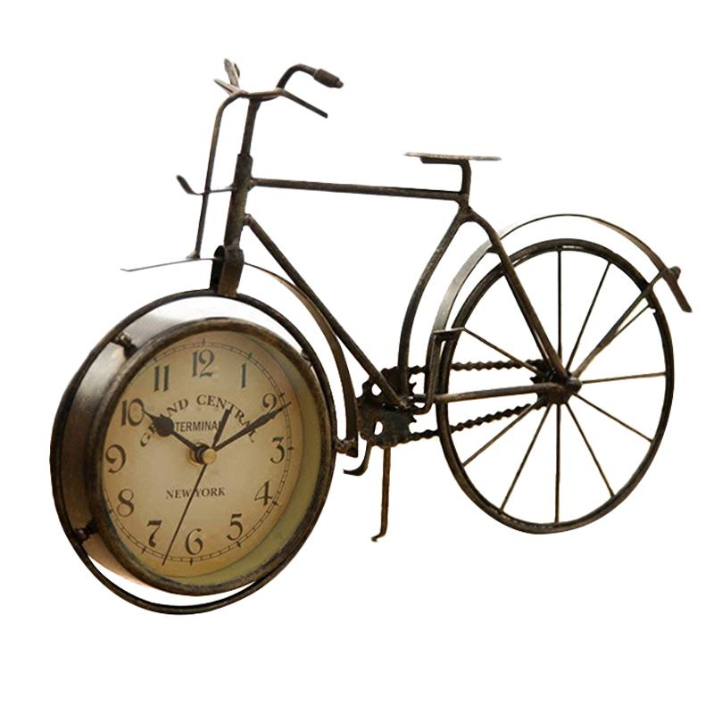 Vintage Iron Bicycle Type Table Clock Classic Non-Ticking Silent Retro Decorative Bike Clock For Living Room Study Room Cafe B