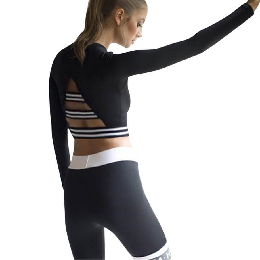 Новое прибытие женщин с длинным рукавом полоса спортзала спорта Тонкий Блуза Tops Фитнес Йога T-Shirt Sexy Быстрый Сушка Обучение чередующийся Рубашки