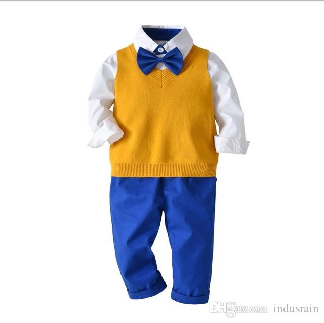 2019 spring and autumn boy baby gentleman shirt with cotton wool vest trousers bow tie four-piece suit Children's birthday dress