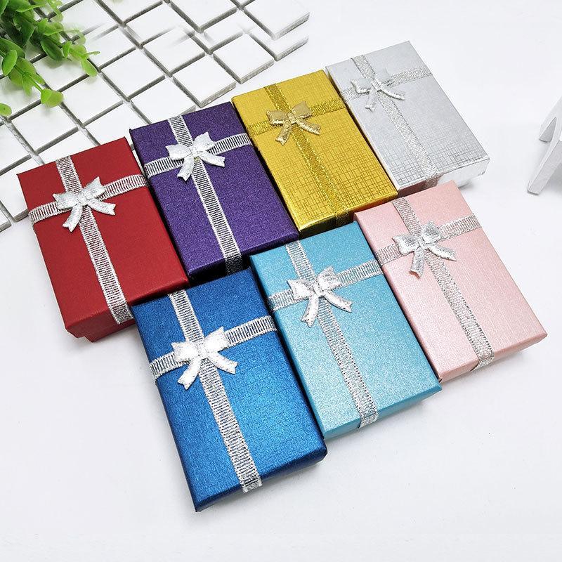 5 * 8 * 2.5 cm Caixa de Presente Da Jóia Pérola de papel SpongeFilled Colar De Papelão Brinco Anel Caixas para Aniversários, Casamentos, aniversários ou Jóias