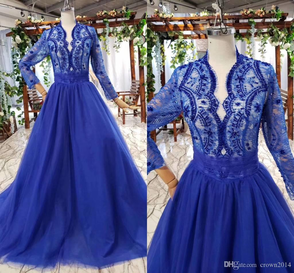 Royal Blue Elegant Evening Formal Dresses 2020 Arabic Long Sleeve Beaded Lace Prom Gowns Red Carpet Celebrity Boho Bridal Dress Real Picture