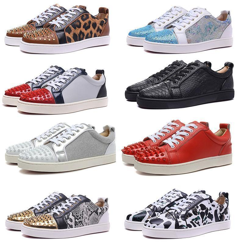New Mens Red Bottoms Skate Shoes Spikes Studded inferior Casual Flats diário Skateboarding Sneakers para as Mulheres Triplo Preto Silver2b26 #