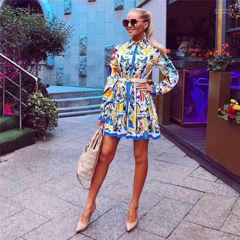 Shirts Dress With Belt Casual Womens Dress Designer Womens Flora Printed Dresses Fashion Vintage Long Sleeve