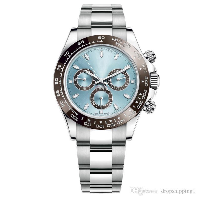 2019 망은 3 다이얼 전체 기능을 작동 블랙 세라믹 베젤 패션 화이트 다이얼 팔찌 폴딩 버클 남성 시계 일 손목 시계 시계