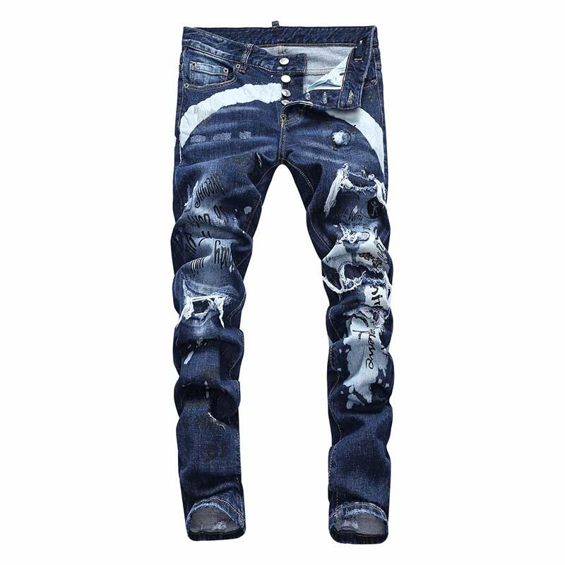 Mens de luxe Designer Jeans Black Ripping Skinny Biker Moto Cool Pantalon Pour Hommes Skinny Hommes S Hip Hop Denim Rock Revival