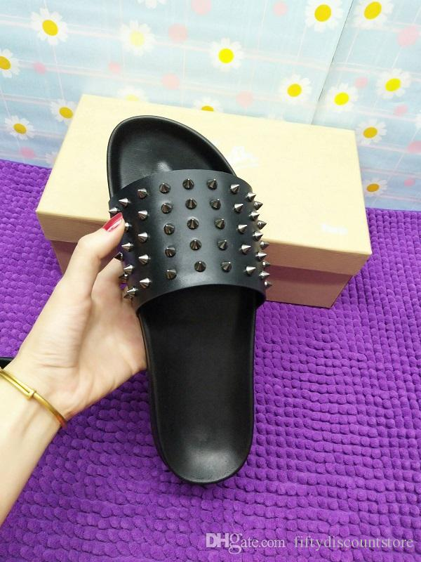 Red Bottom Slippers Mens Black Genuine Leather With Spikes Summer Flip Flops, Sandals Comfortable Beach Shoes For Men Slippe Red Bottoms