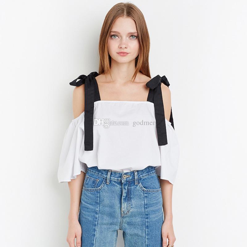 Avrupa Ve Amerika Birleşik Devletleri Tatlı Koleji Rüzgar Yay Sapan Bir Omuz Kısa Kollu Gömlek Beyaz Gömlek Kadın