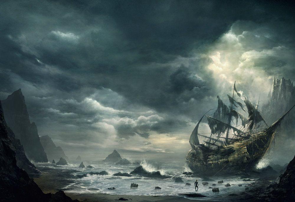 Miglior regalo Fantasy Pirates Ship Boat Sailing Seascape Pittura a olio Stampe su tela Living Room Bedroom Wall Picture Art Home Decor Ship08