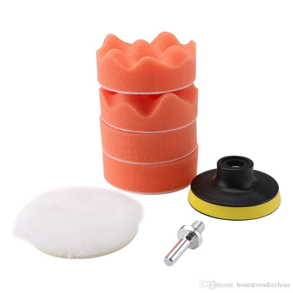 6 pcs buffing pad set thread 3 polegadas auto carro de polimento de carro kit para polidor carro + adaptador de broca M10 ferramentas elétricas acessórios