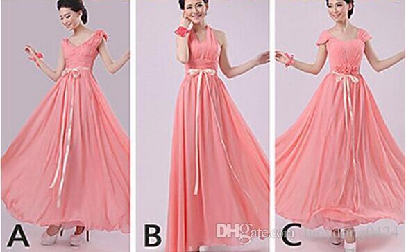 6 Styles Dresses V-neck Halter A-line Floor-length Chiffon Bridesmaid Dresses Wedding Party Girls Dress Lace-up Back