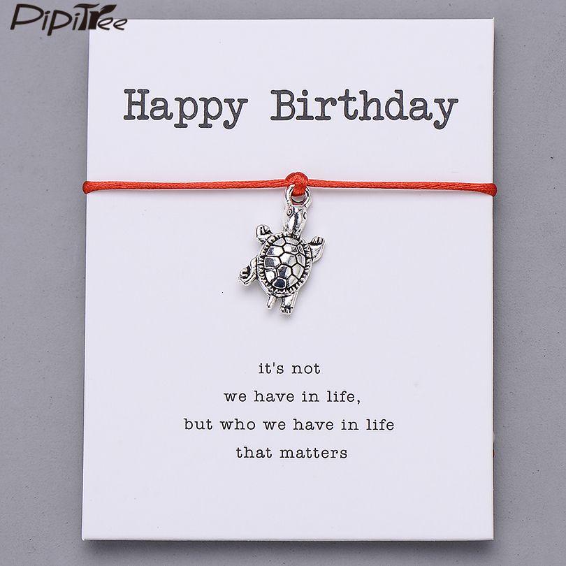 Alles Gute zum Geburtstag Geschenk-Weinlese-Schildkröte Charm-Armband für Frauen Männer für Kinder Besten Armbänder Lucky Red String Schmuck