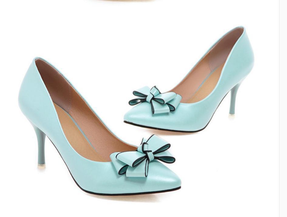2020 весной и осенью с новой модой стиля Высокого каблуком прекрасных пятками заостренным концом бантом обуви Женской @ MQWBH607