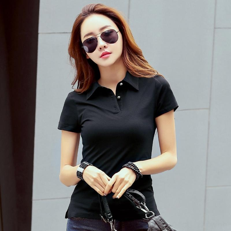 2020 lapel short embroidered clothing clothing T- women's Polo Women's T-shirt base shirt clothes fashion