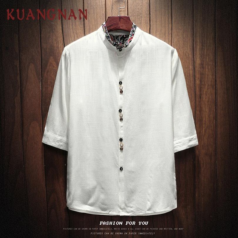 Camisa blanca de lino de estilo chino KUANGNAN Camisa de hombre Streetwear Camisa casual de corte ajustado Media manga 5XL Ropa 2019 Nuevo
