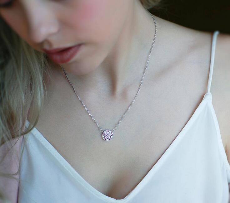 Top Grade Diamond Pendant Necklace Cubic Zircon 925 sterling silver cherry blossom Pendant necklace
