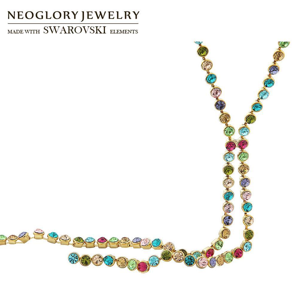 Presente clássico Verão vestido de festa na moda Neoglory Áustria strass coloridos Charme Cadeia Rodada Beads longo Colar Para Mulheres