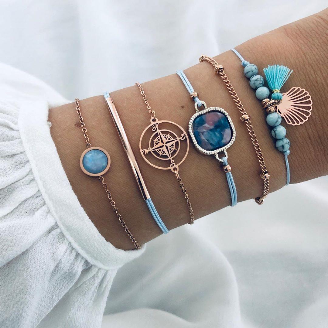 Bohemia del punk brazalete de perlas de cristal de la brújula amor regalo de la cadena de joyería de múltiples capas de piedra natural de la borla de la pulsera del encanto de la muchacha