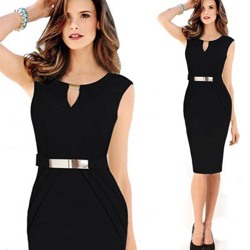 Moda donna Abiti estivi vestito dalle signore casuale Office Lady Nero ragazza elegante vestito da partito del Vestidos 2019 Clothes