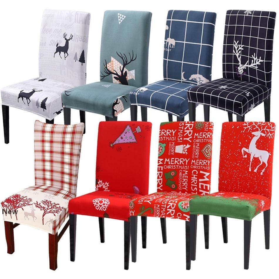 Fundas para sillas 38styles para sillas de cubierta extraíble Stretch Cubiertas comedor de asiento elástico Funda Navidad banquete de la boda Decoración de Navidad LJJA3378-2