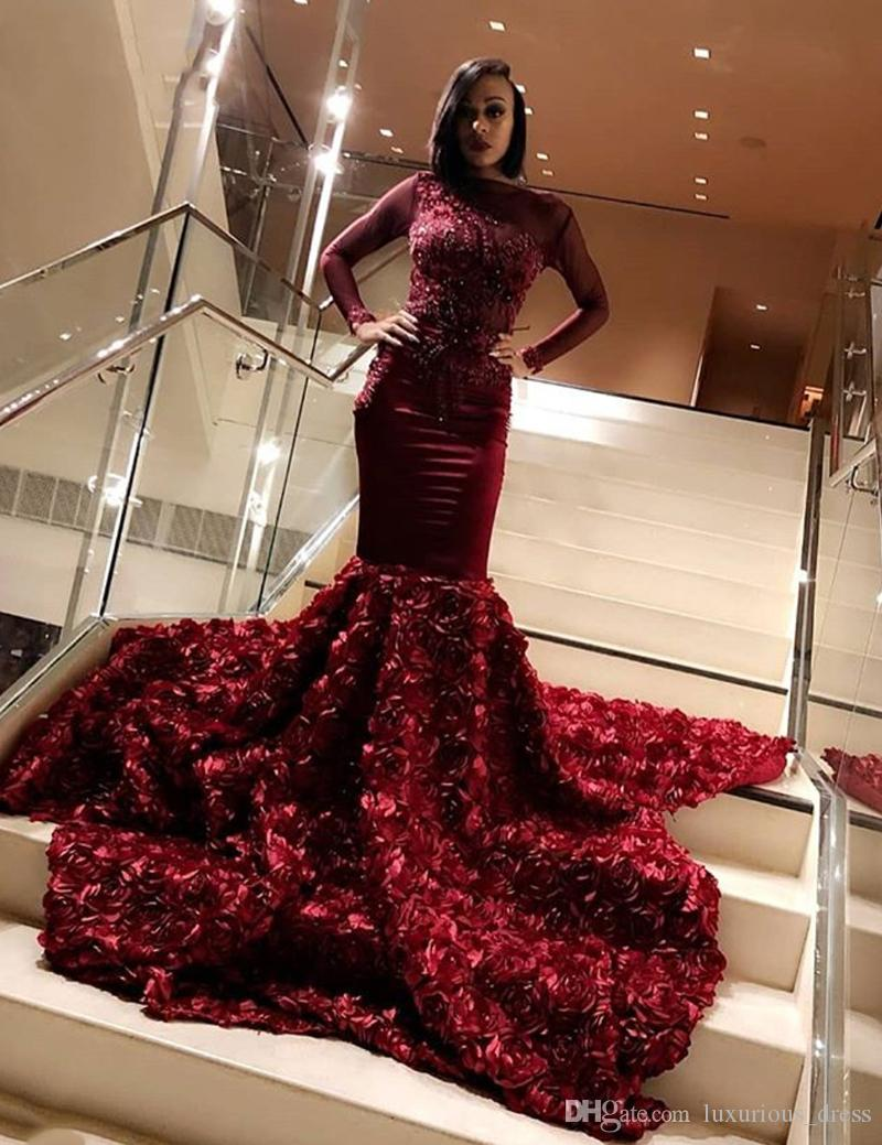 2019 Gorgeous Burgundy Mermaid Prom Dresses Long 2019 Lace Appliques Beads Open Back With 3D Flowers Evening Prom Gowns Graduation Dresses